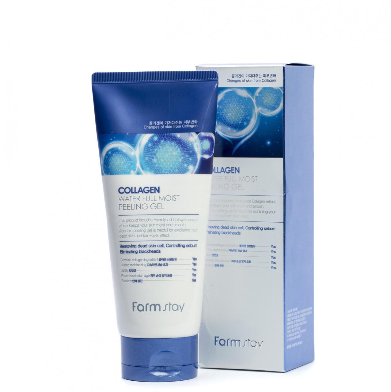 Пилинг гель для лица Farm Stay Collagen Water Full Moist Peeling Gel 180 ml.