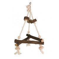Игрушка для птиц, из натурального дерева, с веревками и шариками, Размер игрушки 16 × 16 × 16 cm