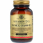 Solgar, Натуральный витамин D3, 10 000 МЕ, 120 гелевых капсул