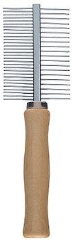 Расческа с деревянной ручкой и метал.зубцами для  тщательного ухода за шерстью кошек и собак. 2 стороны.