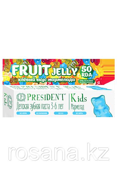 PRESIDENT Kids Fruit Jelly 3-6 зубная паста со вкусом мармелада без фтора