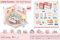 LC3357 Мини комната: Столовая с куклой (конструктор собираем домик)28*21см