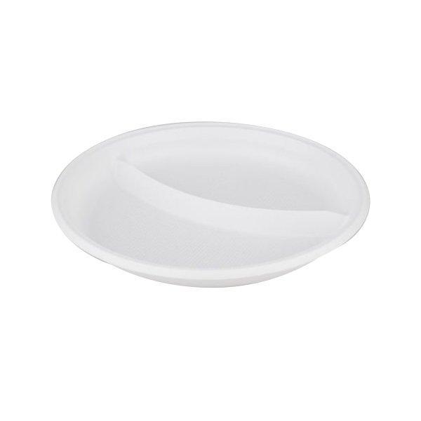 Тарелка d 205мм, 2-секции, белая, 2000 шт