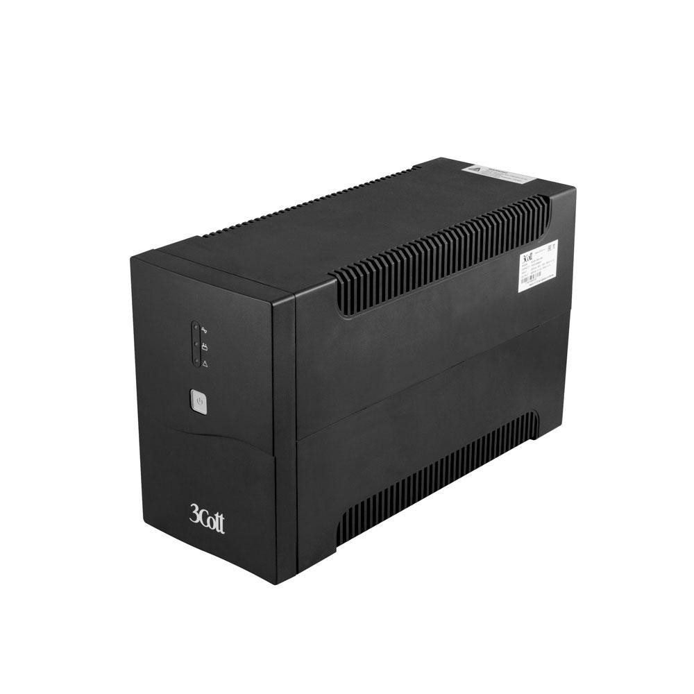Источник бесперебойного питания 3Cott-1500-OFC, Office line, UPS AVR, 1500VA/900W, 12V/9Ah*2, IEC C13*8, Cable