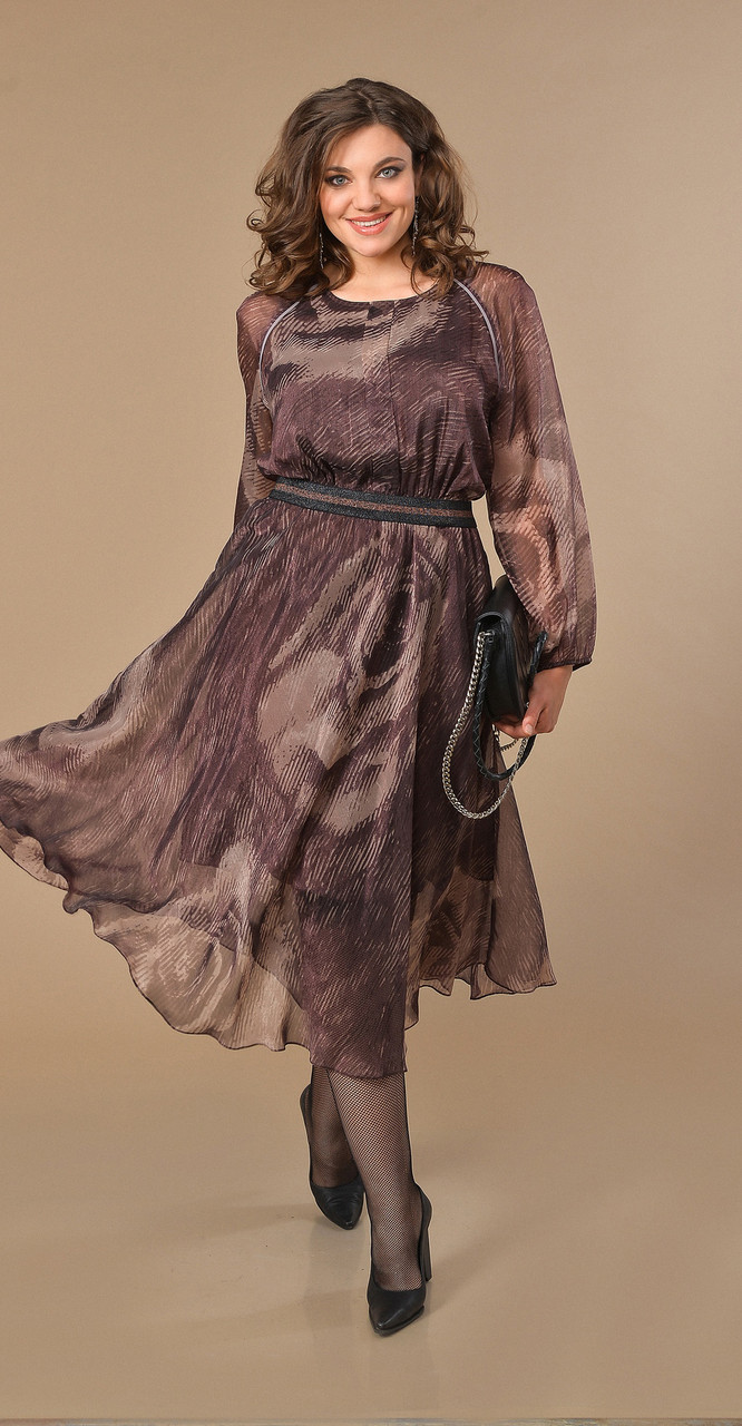 Платье Anna Majewska-А234 W, коричневые тона, 52
