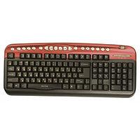 Клавиатура проводная Keyboard Oklick 330M Black/red mmedia (PS/2+usb)+USB порт
