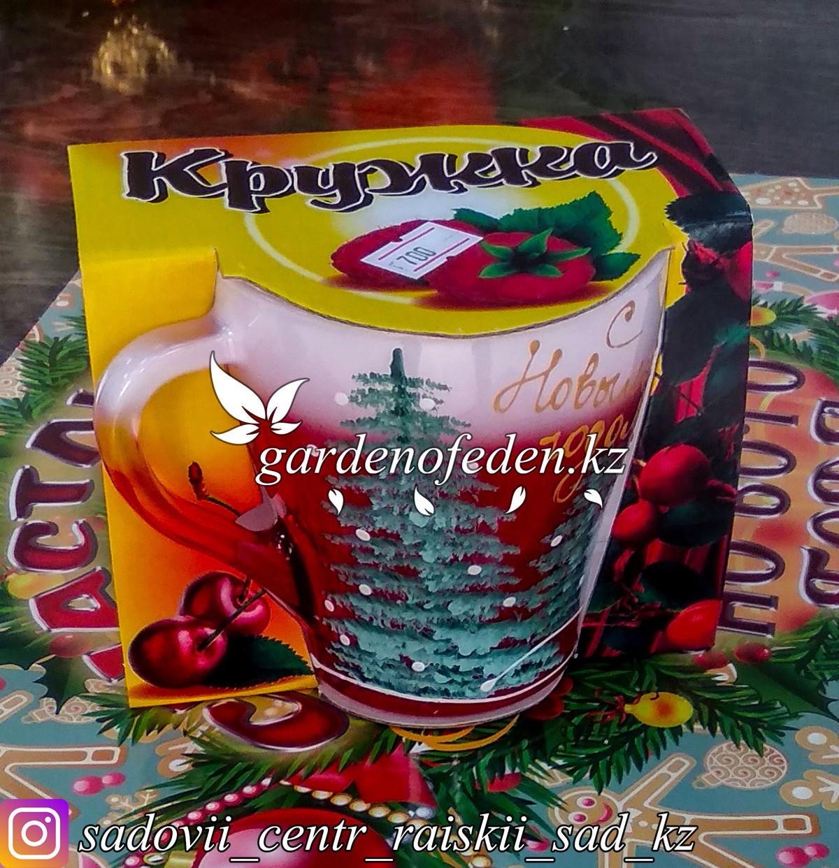 Кружка из цветного стекла с декором. Картонная упаковка. Цвет: Красный/Розовый.