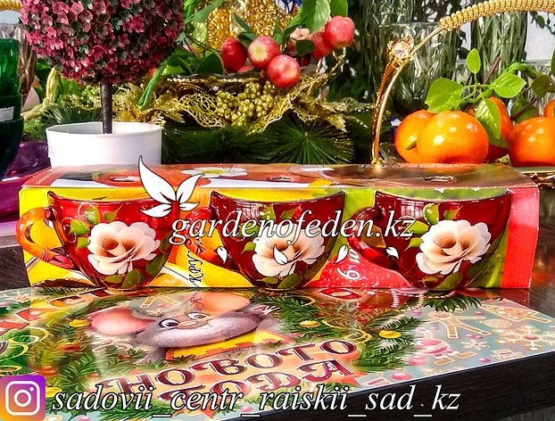 Кружки из цветного стекла с декором. Картонная упаковка. Цвет: Оранжевый. Набор: 6 штук., фото 2