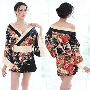"Халат - кимоно ""Гейша"", размер 42 (s), цвет чёрный"