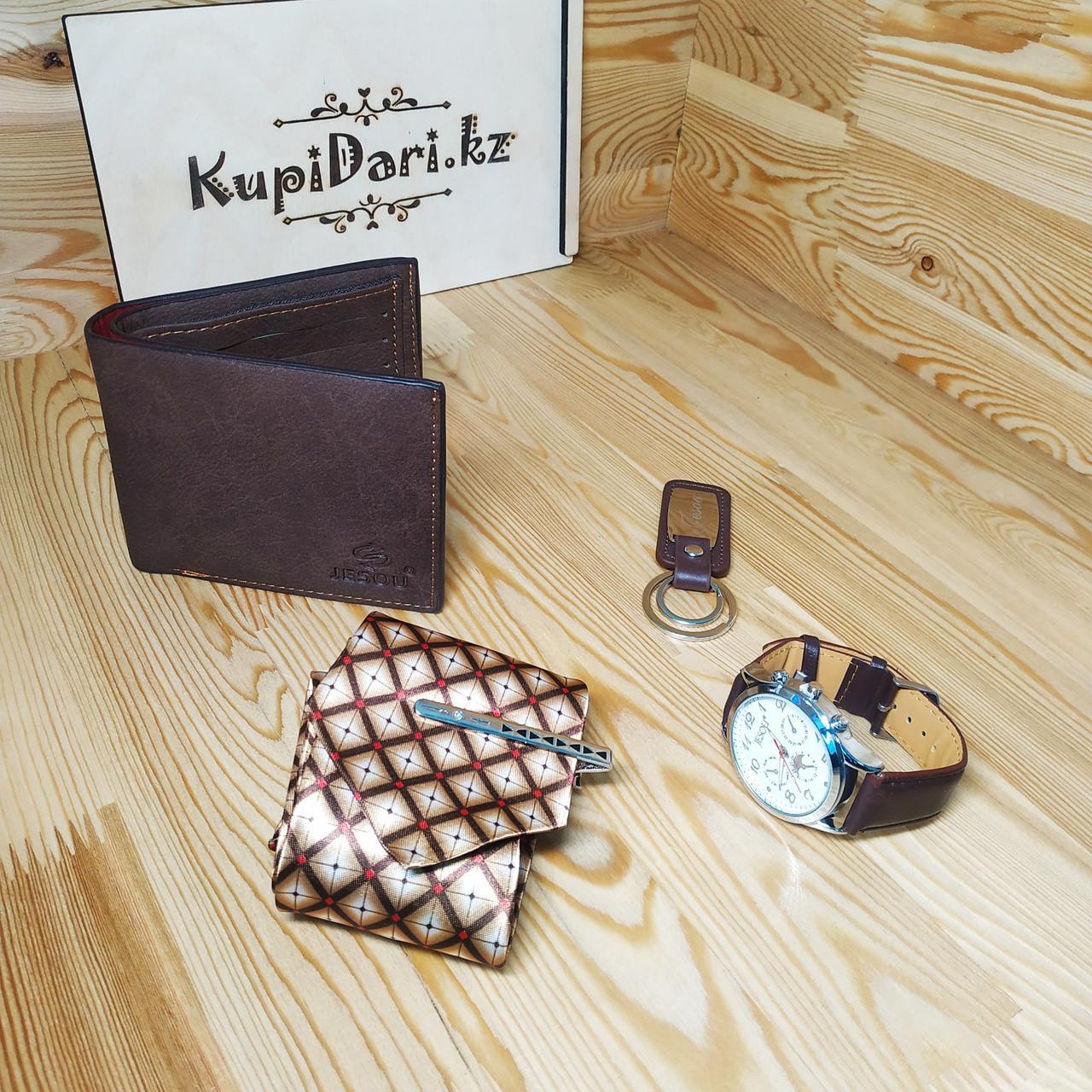 """Подарочный набор от """"Jesou Collection"""" с кошельком, часами, галстуком и ключницей"""
