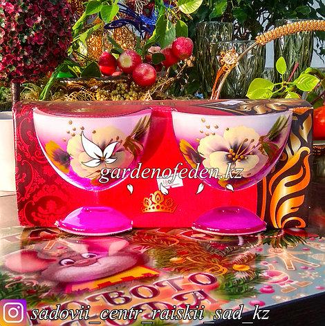 Креманка, на ножке, из цветного стекла с декором. Цвет: Розовый. Набор: 2 штуки., фото 2