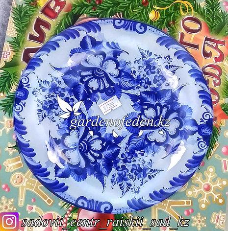 Тарелка десертная, с узором. Цвет: Бело-синий. Материал: Стекло., фото 2