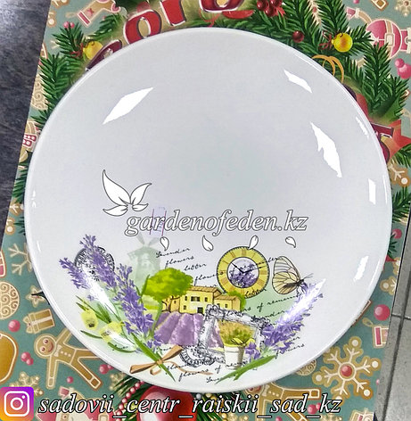 Тарелка обеденная, с узором. Цвет: Белый. Материал: Керамика., фото 2
