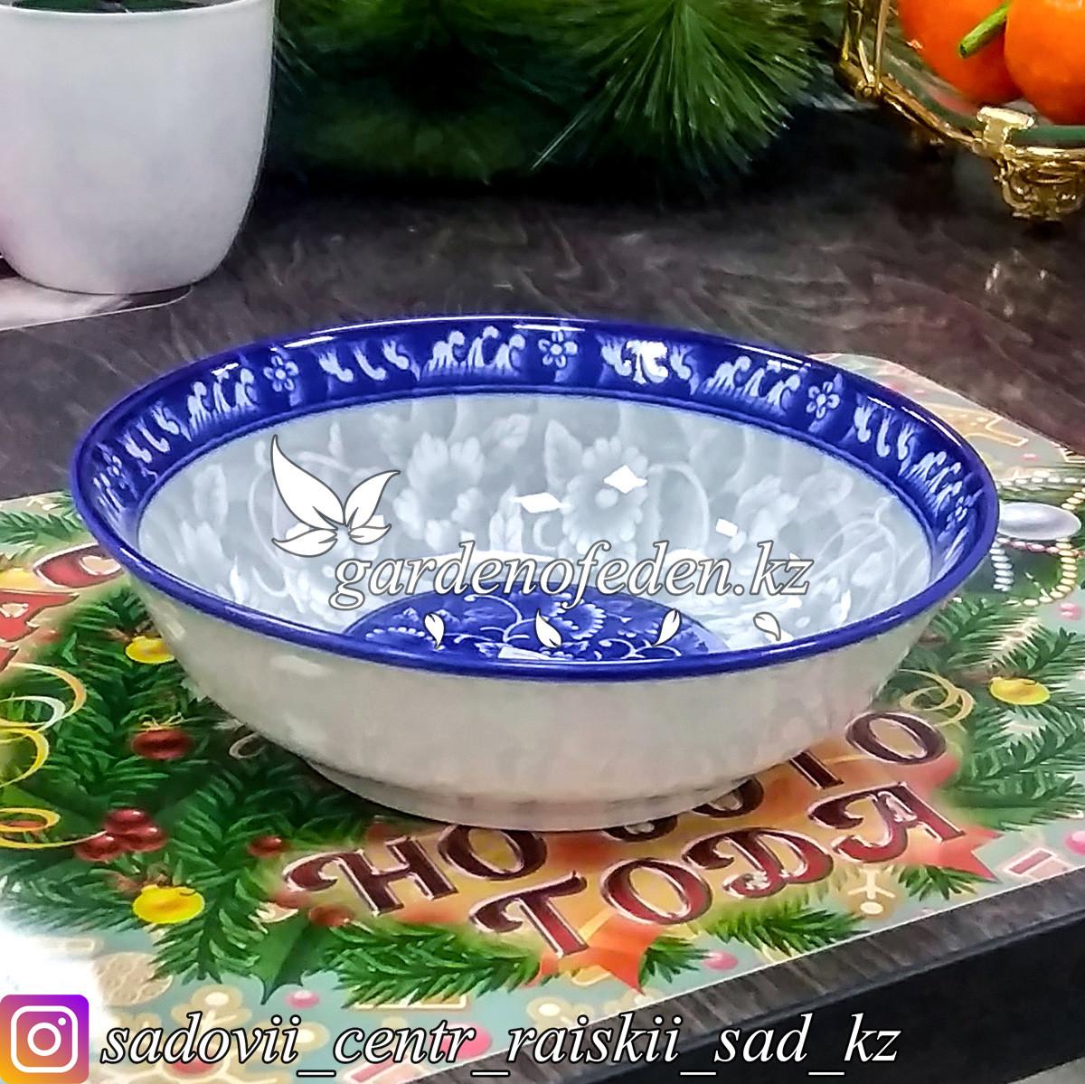 Тарелка суповая, с узором. Цвет: Серо-синий. Материал: Керамика.