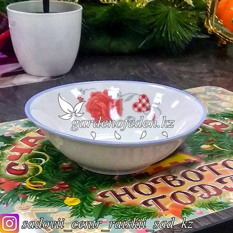 Тарелка суповая, низкая, с узором. Цвет: Белый. Материал: Керамика., фото 2