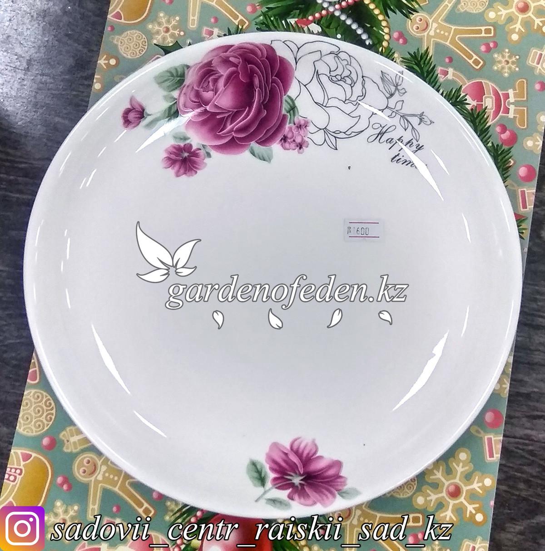 Тарелка обеденная, большая с узором. Цвет: Белый. Материал: Керамика.