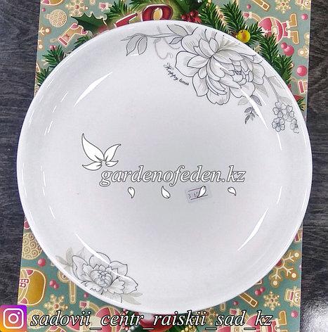 Тарелка обеденная, большая с узором. Цвет: Белый. Материал: Керамика., фото 2