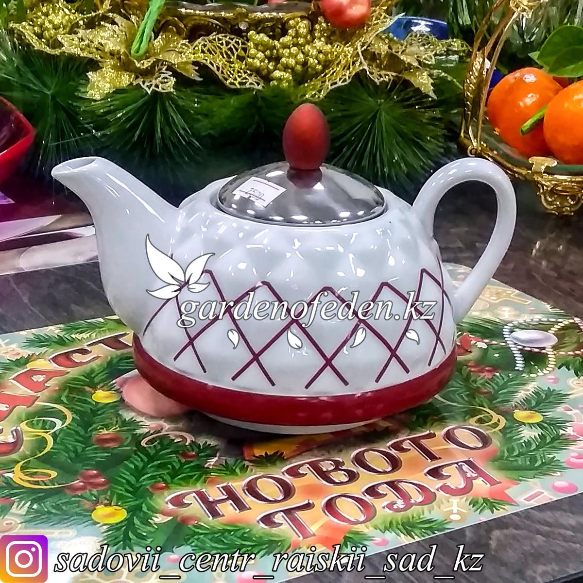 Чайник заварочный с металлической крышкой, керамический, с узором. Цвет: Белый.