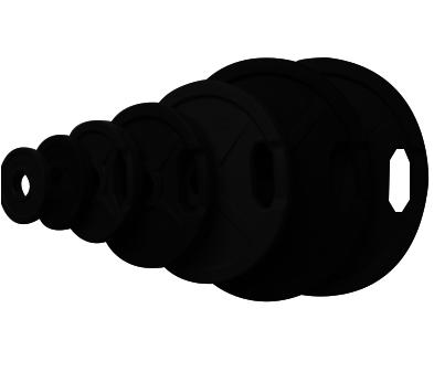 Диск олимпийский Johns 71022 черный обрезиненный (1,25 кг)