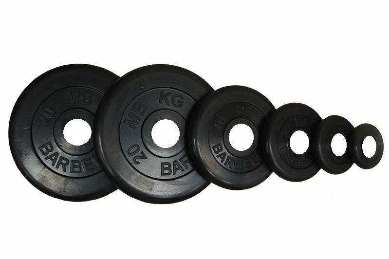 Диск Barbell Atlet черный обрезиненный 26 мм (1,25 кг)