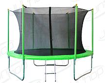 Батут JunHop 10ft (3,0 метра, зеленый) с защитной сетью и лестницей