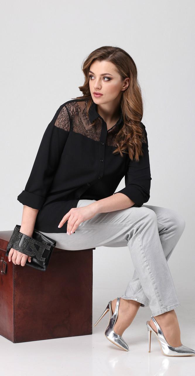 Блузка Anna Majewska-М-1173 Lb, черный, 48