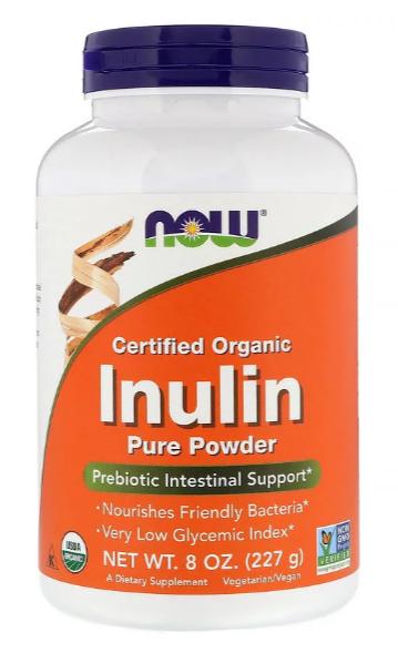 Now Foods, Сертифицированный органический инулин, пребиотик в чистом порошке, 227 г