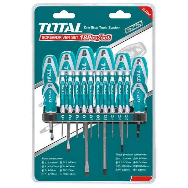 Набор отвёрток 18 шт, с подвесом Total (THT250618)