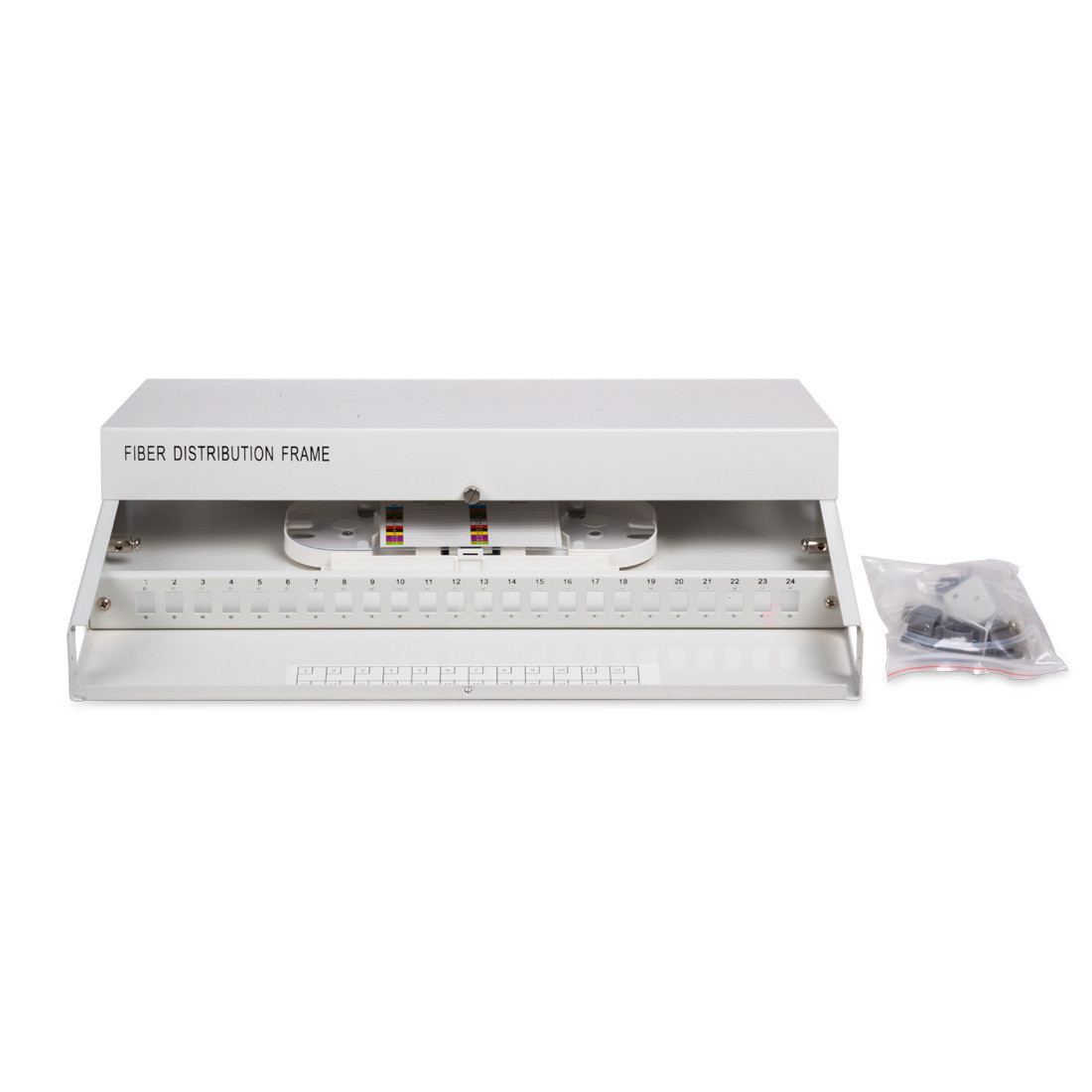 Кросс оптический 1U SC/APC 24 PORT SM (в комплекте 24 адаптера+24 пигтейла+24 гильз)