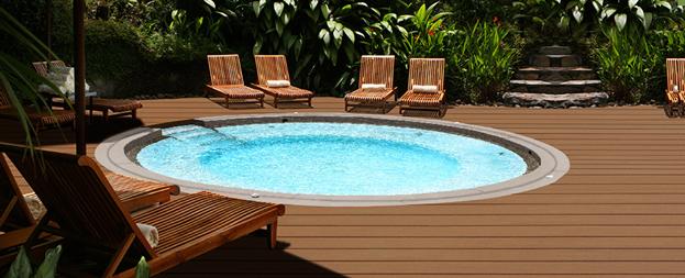 Монтаж террасы с бассейном