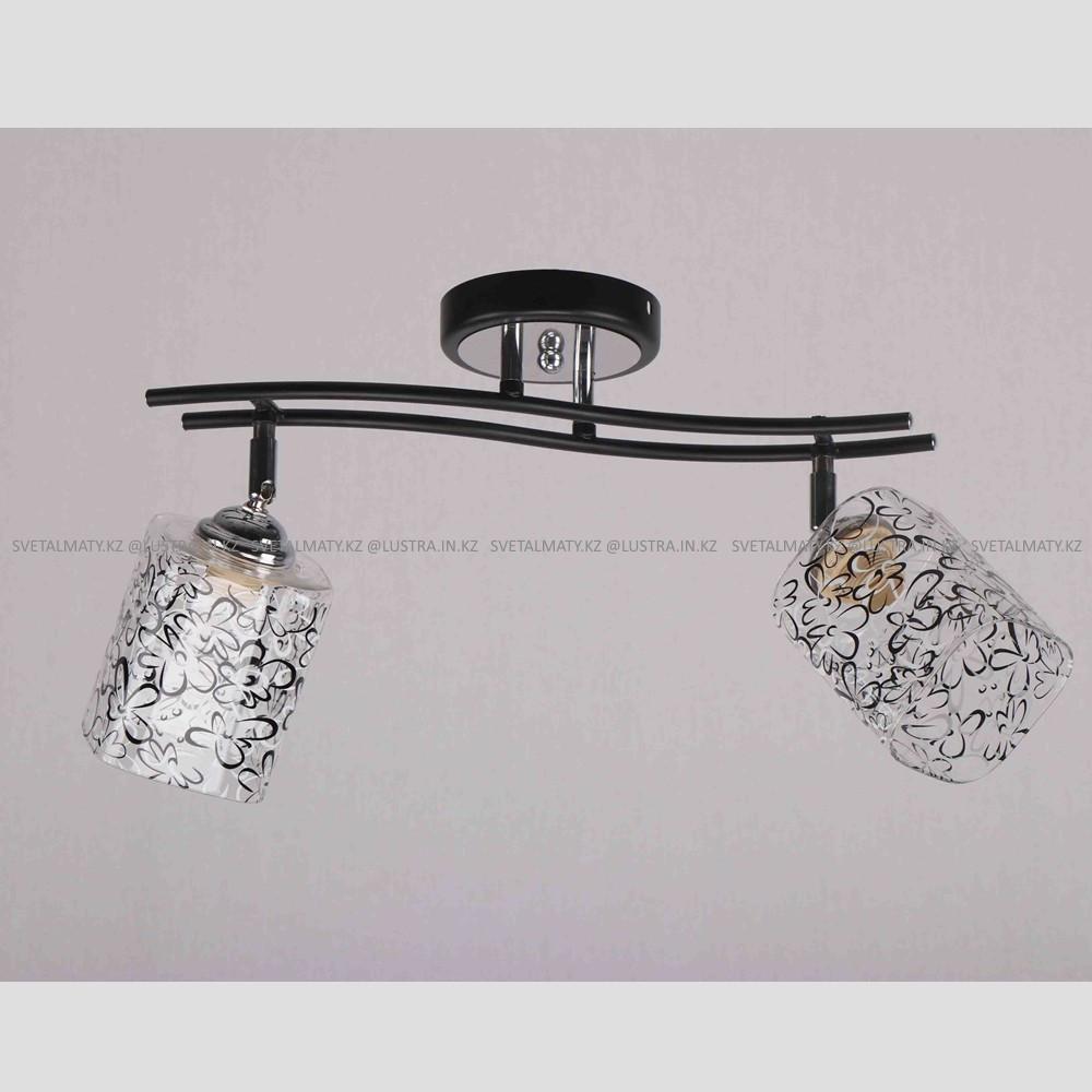 Люстра потолочная на 2 лампы в стиле современный прованс, Цвет черный с хромированными элементами.
