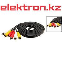 Шнур 3RCA -3RCA, 20 m  переходник  кабель аудио,видео,компьютерный купить в Астане