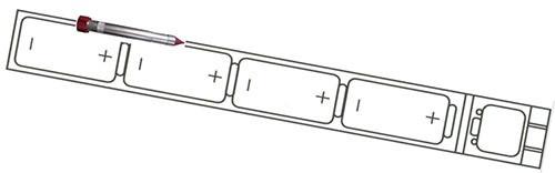 """Схема размещения элементов питания в корпусе отпугивателя """"LS-107"""""""