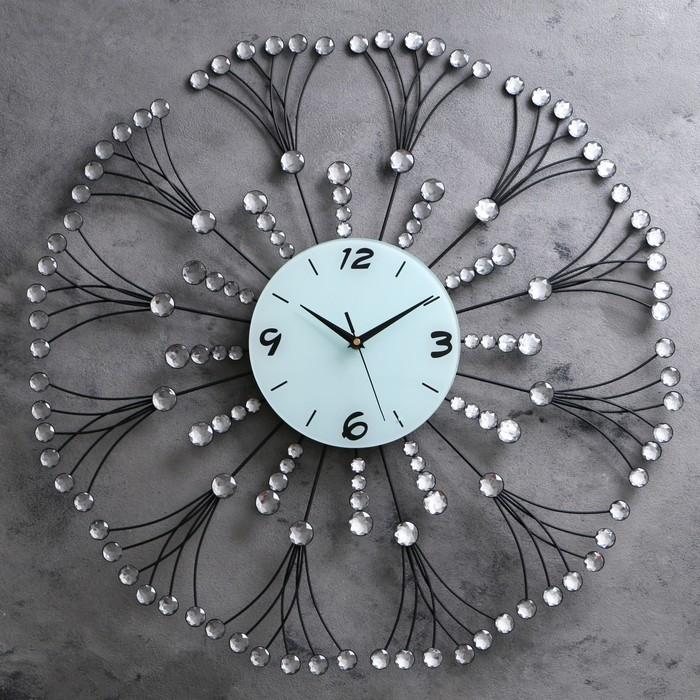 """Часы настенные, серия: Интерьер, """"Кисти рябины"""", стразы, d=70 см"""