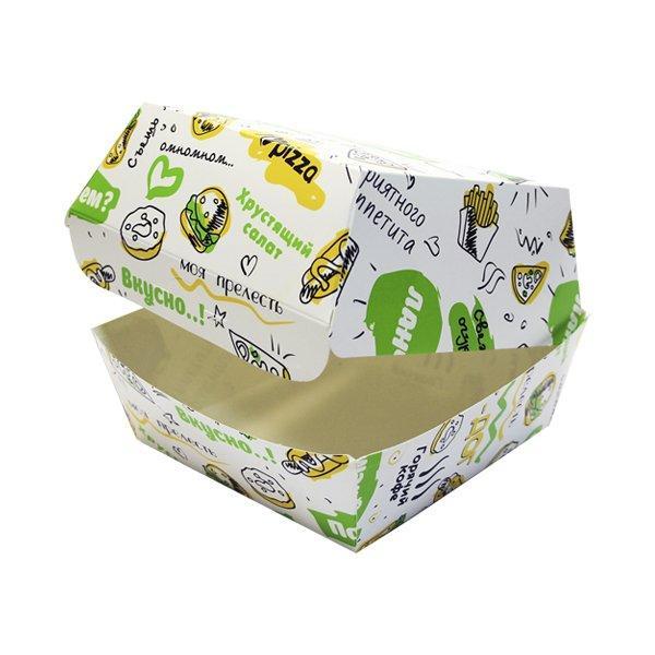 """Коробка д/бургера 120х120х100мм с печатью """"FOODкорт"""", 250 шт"""