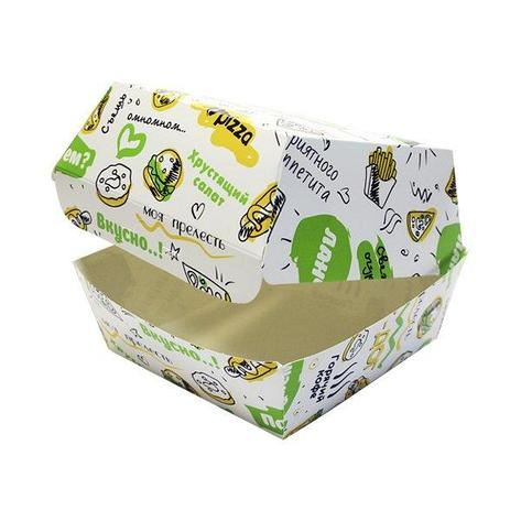 "Коробка д/бургера 120х120х100мм с печатью ""FOODкорт"", 250 шт, фото 2"