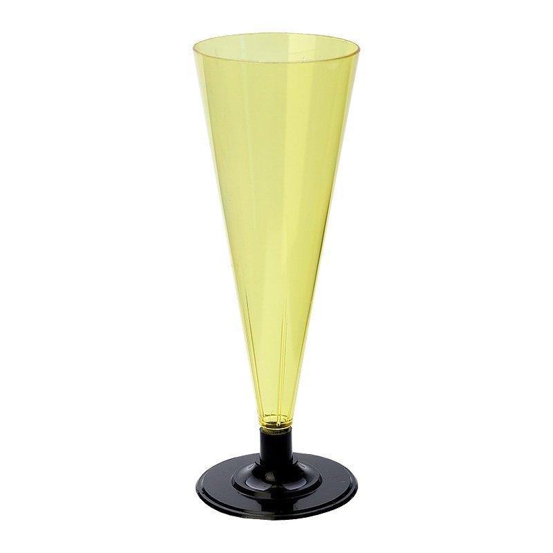 Фужер д/шамп., 0.18л, с черной ножкой, жёлт., ПС, 6 шт
