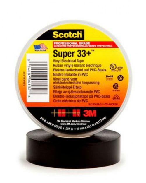 3М 80611207012 Scotch® Super 33+™ Изолента ПВХ Морозостойкая высшего класса, рулон 19 мм х 20 м