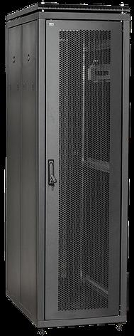 """ITK Шкаф сетевой 19"""" LINEA N 24U 600х600 мм стеклянная передняя дверь, задняя металлическая черный, фото 2"""