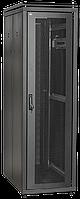"""ITK Шкаф сетевой 19"""" LINEA N 24U 600х600 мм стеклянная передняя дверь, задняя металлическая черный"""