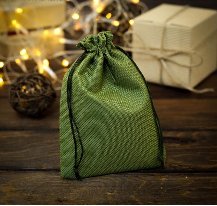 Мешочек подарочный из холщи, зелёный