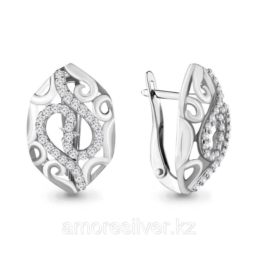 Серебряные серьги с фианитом  Aquamarine 46363А