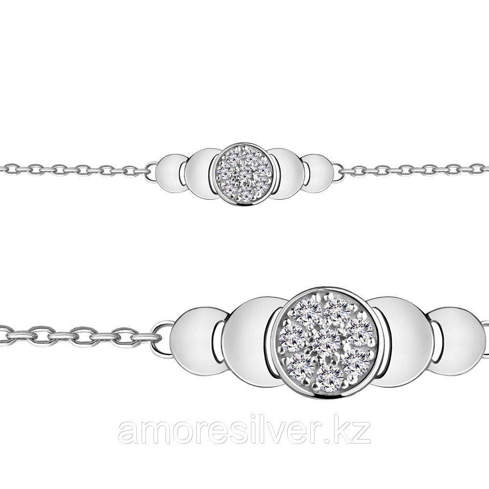 Браслет из серебра с фианитом  Aquamarine 74485А