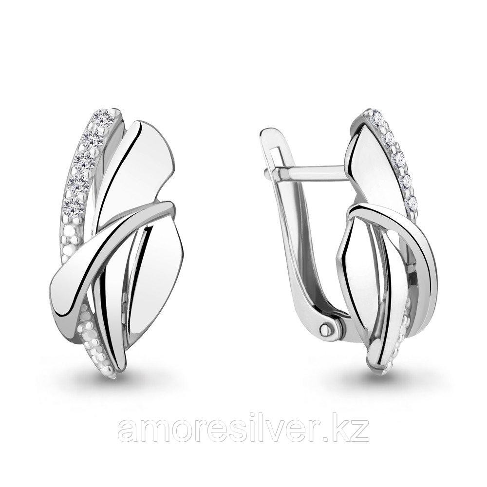 Серебряные серьги с фианитом  Aquamarine 46894А