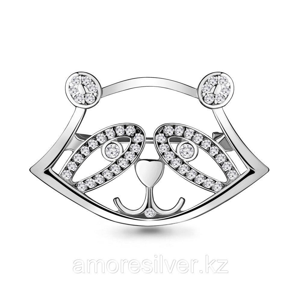 Серебряная брошь с фианитом  Aquamarine 77322А