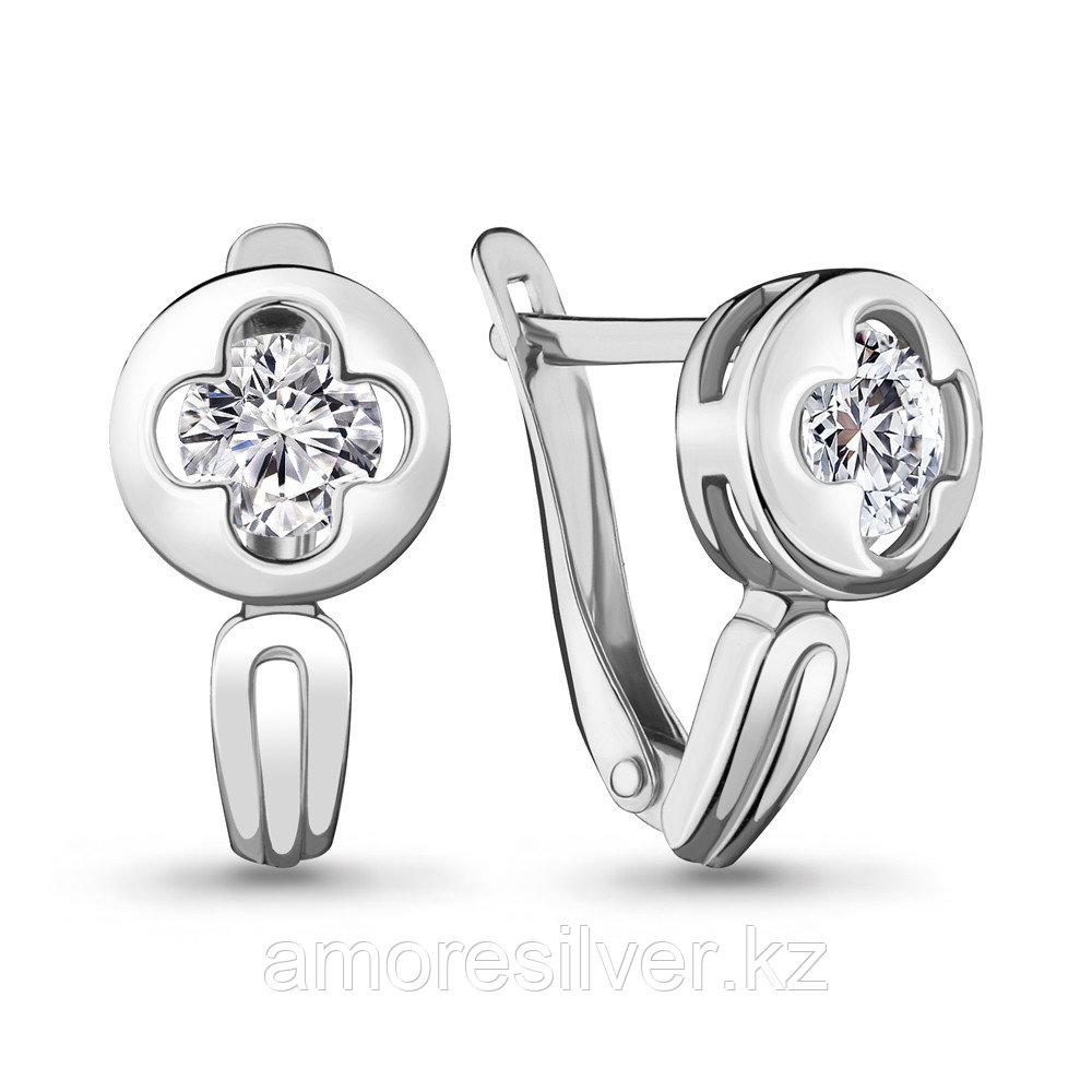 Серебряные серьги с фианитом  Aquamarine 46995