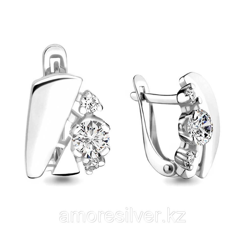 Серьги из серебра с фианитом  Aquamarine 45931А