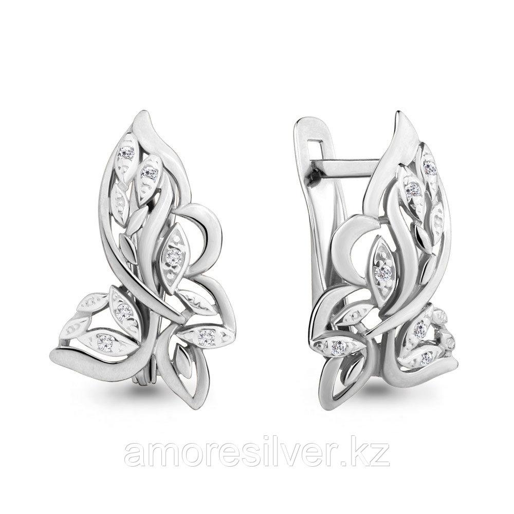 Серебряные серьги с фианитом  Aquamarine 46503А