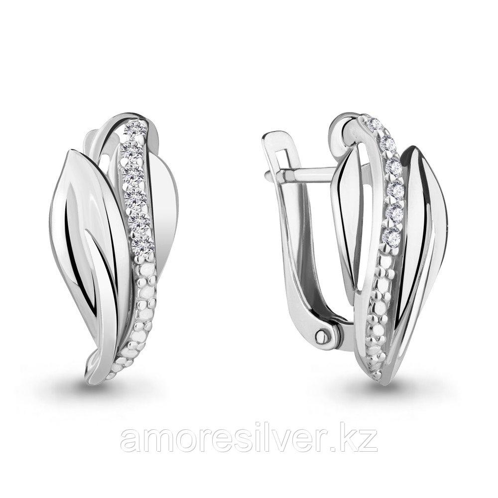 Серьги из серебра с фианитом  Aquamarine 46893А