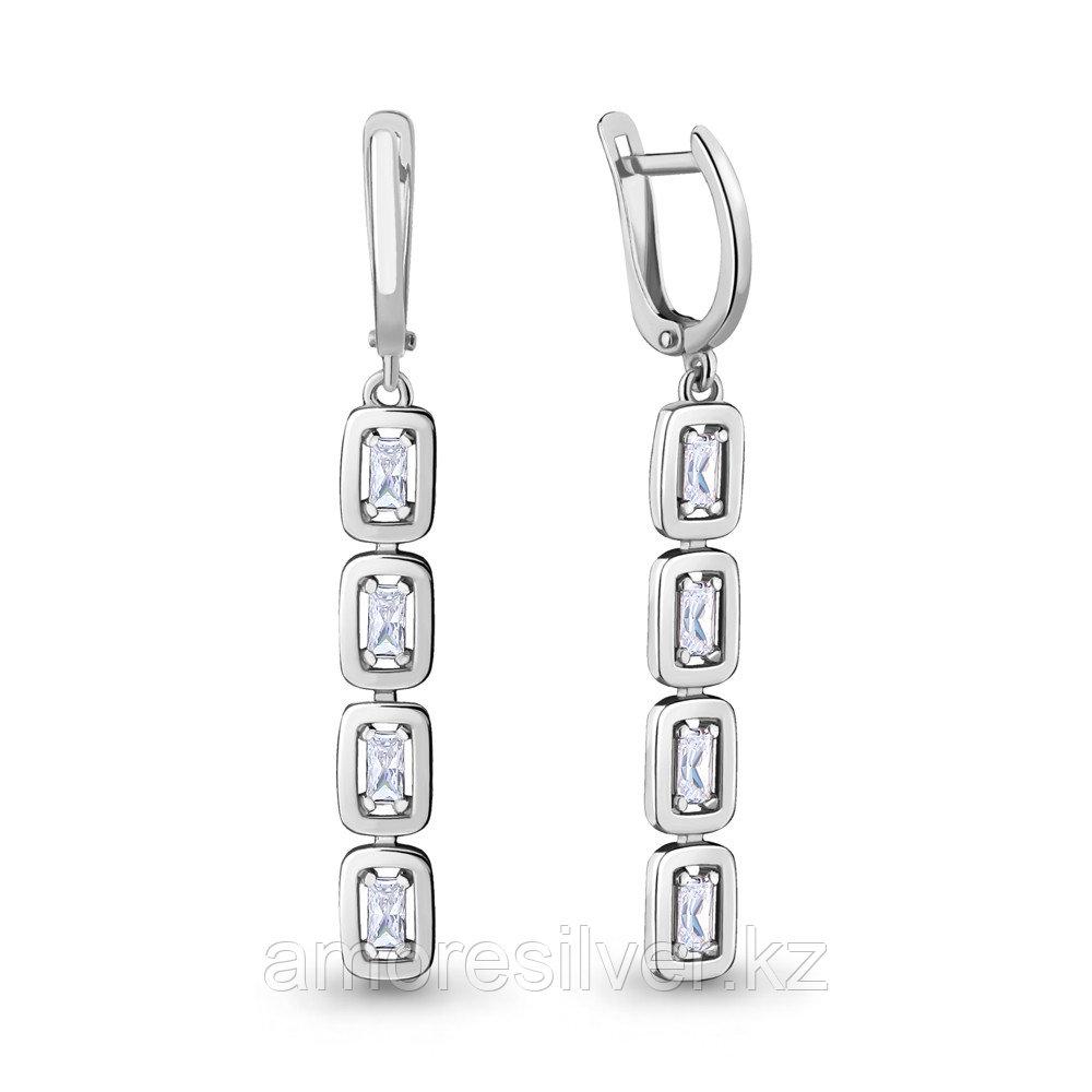 Серьги из серебра с фианитом  Aquamarine 46707